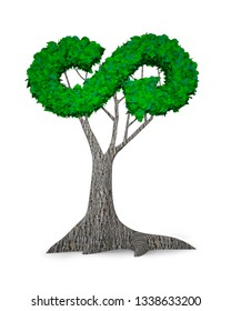 Concept of developing circular economy industry, tree with green leaves in form of arrow infinity recycling symbol, isolated on white, 3D illustration.