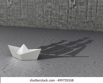 Concept Development and hidden features. Paper Boat which casts a shadow on the concrete floor. 3D illustration