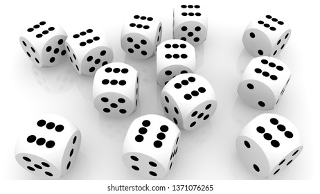 Concept of dice in white color.3d illustration