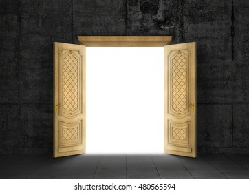Concept of different dimension. White mysterious portal to another space through a wooden door with a gloomy room outside. Concept of path. 3d illustration.