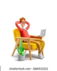 Das Konzept der Fernarbeit, des Studiums und der Kommunikation unter komfortablen Bedingungen zu Hause.  Nerd Larry sitzt in einem Stuhl und sieht ein Video auf einem Laptop. 3D-Abbildung.