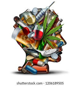 Concept of drug addiction and substance dependence as a junkie symbol or addict health problem with cocaine hroin cannabis alcohol and prescription pills with 3D illustration elements.