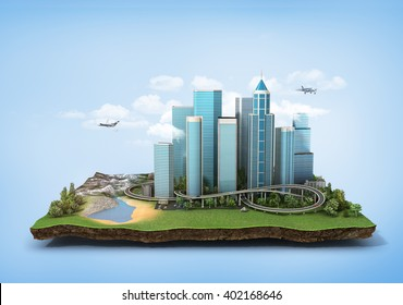 Concept of eco city. Modern city with skyscrapers, highway and cars surrounded by nature landscape on the patch of land. 3d illustration