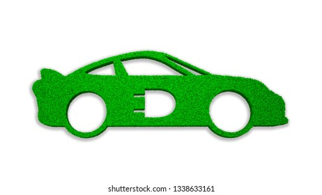 Concept of ECO, green energy and circular economy, green grass in electric car shape with plug-in symbol, isolated on white, 3D illustration.