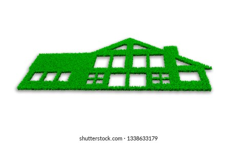 Concept of ECO, green energy house and circular economy, green grass in house shape, isolated on white, 3D illustration.