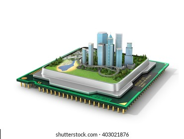 Concept of eco technology. Eco-city, Smart city. Green city in processor. Green industry. 3d illustration