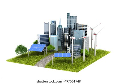 concept of eco-city. town, trees, solar panels, windmills rozmescheny on a green hill. 3d illustrations