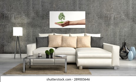 The concept of eco-friendly interior. Sofa, table, lamp on the background of a concrete wall. 3d illustration
