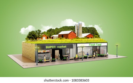 the concept of ecologically pure food showcases grocery supermarkets with a farm on the roof 3d render on green