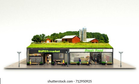 the concept of ecologically pure food showcases grocery supermarkets with a farm on the roof 3d render on white