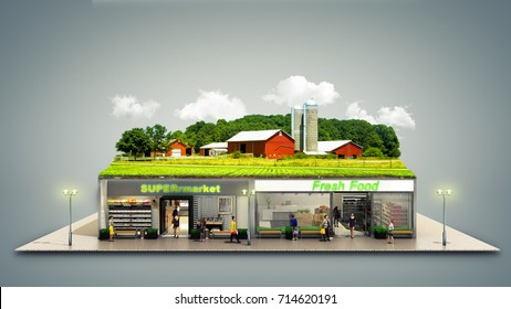 the concept of ecologically pure food showcases grocery supermarkets with a farm on the roof 3d render on grey