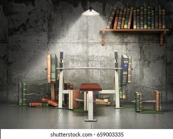 Concept of education. Training apparatus with books as barbells. Training your mind. 3d illustration