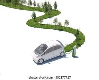 Concept for electric car creating nature on its path white background 3d rendering