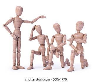 Concept of employer and employee with wood dolls 3D Render. Concept of submission and meekness.