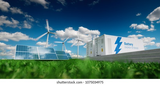 Concept of energy storage system. Renewable energy - photovoltaics, wind turbines and Li-ion battery container in fresh nature. 3d rendering.