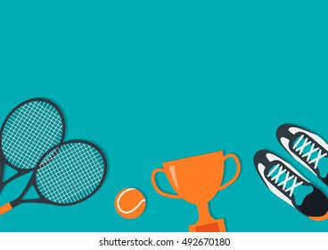 Concept With Equipment For Tennis. Flat Lay. Illustration.