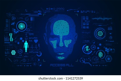 concept of face detection or biometrics, shape of human face combined with fingerprint with digital technology interface
