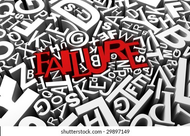 Concept for failure - red letters spelling the word failure