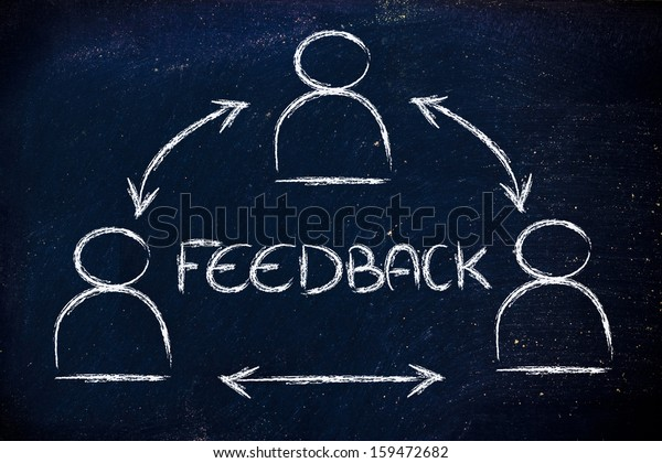 concept of feedback, design with group of people communicating