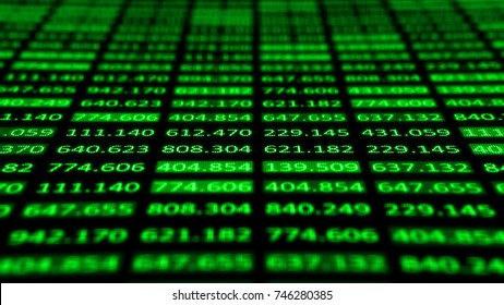 Concept of Financial data on a monitor. Display of Stock market quotes on dark background. 3d render of display panel with depth of field.