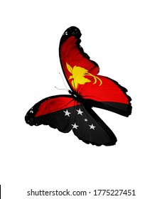 Concept of flag - butterfly flying on white. Papua New Guinea