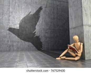 The concept of a flight of fantasy, free-thinking, dreams and self-development. A wooden figure of a man who reads a book and casts the shadow of a bird. 3D illustration