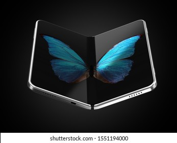 Concept of foldable smartphone folding on the longer side with butterfly image on screen. Flexible smartphone isolated on black background with empty place on the screen. 3D rendering