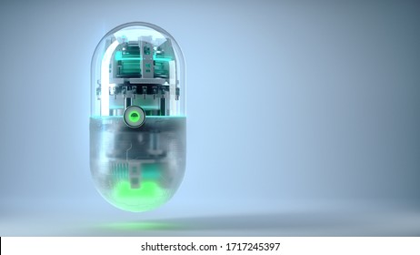 The concept future medicine and bioengineering capsuletech inside, medicalnano-robotic technology for treating diseases prolonging human life neural networks and blockchain technology 3d render