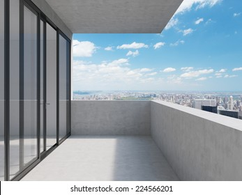 A concept of future perspectives in empty modern balcony. City view.