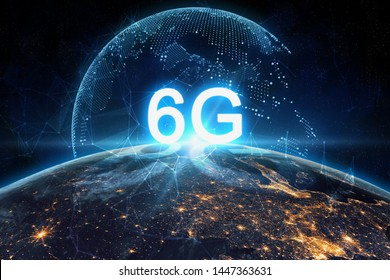 concept of future technology 6G network wireless systems and internet of things
