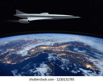 The concept of a futuristic hypersonic passenger aircraft flying in the stratosphere. Space tourism. 3D rendering. Elements of this image furnished by NASA