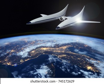 Concept of a futuristic hypersonic passenger aircraft for intercontinental flights in the stratosphere. Space tourism. 3D rendering image. Elements of this image furnished by NASA