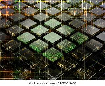 Concept of fututistic quantum computer made of small cells. 3d illustration
