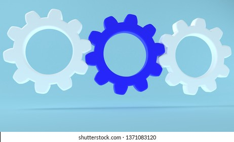Concept of gears in white and blue colors on blue background.3d illustration