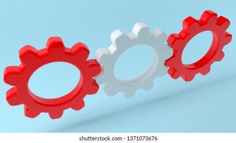 Concept of gears in white and red colors.3d illustration
