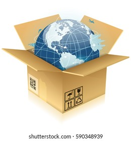 Concept Global Business - Open Cardboard Box with Earth, illustration