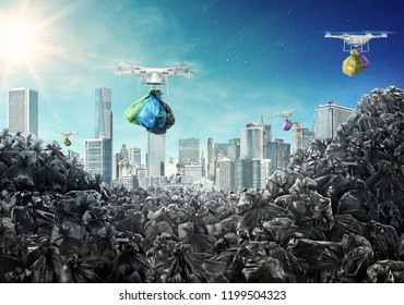 Concept of global pollution. Drones carry garbage bags from the city to the dump. Environmental pollution. Sea of trash. 3d render