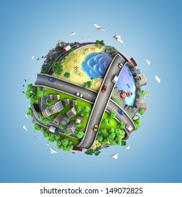concept globe showing diversity, transport and green energy  in a cartoon style