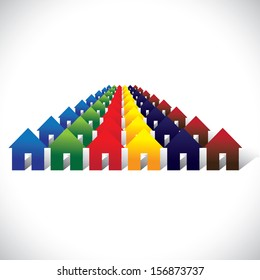 Concept graphic community living - colorful houses or homes in rows. The illustration contains home icons or signs in red, orange, yellow, blue, pink and other vivid and vibrant colors