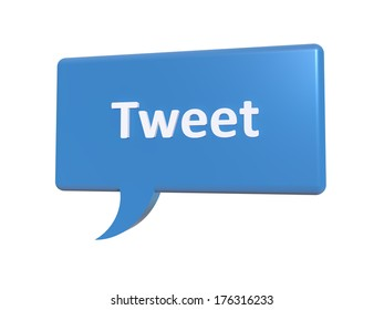 "A concept graphic depicting a blue chat bubble with the word ""tweet"" on it. Rendered against a white background."