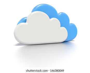 A concept graphic depicting a cloud computing concept. Rendered against a white background with a soft shadow and reflection.