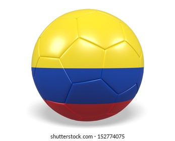 A concept graphic depicting a football/soccer ball with a Colombia flag. Rendered against a white background with a soft shadow and reflection.