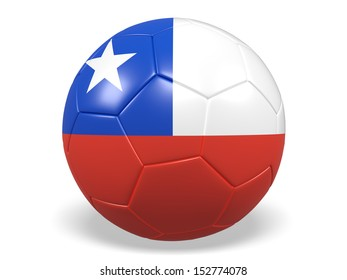 A concept graphic depicting a football/soccer ball with a Chile flag. Rendered against a white background with a soft shadow and reflection.