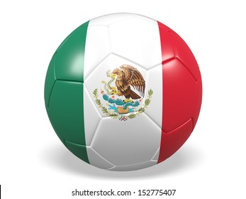 A concept graphic depicting a football/soccer ball with a Mexico flag. Rendered against a white background with a soft shadow and reflection.