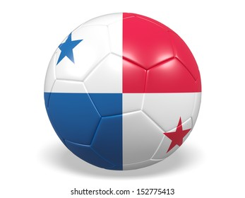 A concept graphic depicting a football/soccer ball with a Panama flag. Rendered against a white background with a soft shadow and reflection.