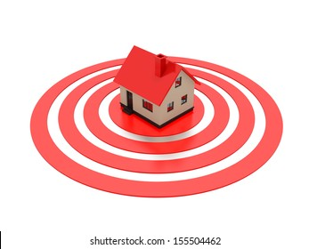 A concept graphic depicting a house on top of a target. Rendered against a white background with a soft shadow and reflection.