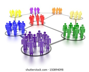 A concept graphic depicting networking people and social media. Rendered against a white background with a soft shadow and reflection.