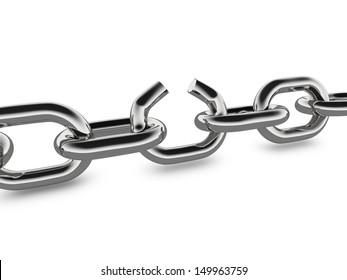A concept graphic depicting a set of strong linked chains with the middle link broken. Rendered against a white background with a soft shadow and reflection.