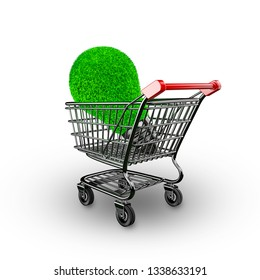 Concept of green energy, ECO and energy saving, light bulb with green grass in shopping cart, isolated on white, 3D illustration.