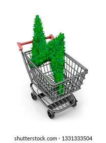 Concept of green energy supply and solution, leaves in lightning bolt shape in shopping cart, isolated on white background, high angle view, 3D illustration.
